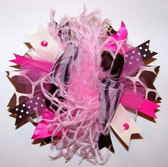 Sassy Couture - Over-the-Top Hair Bow Headband-Pink, Hot Pink, Giraffe, Curly Ostrich Feather, animal print, boutique over the top hairbow