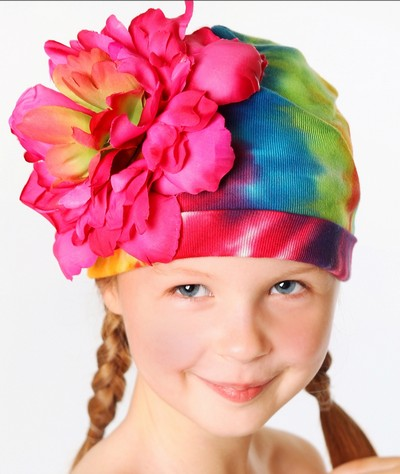 Rainbow Tie Dye Raspberry Peony Flower Hat-colorful, infant, baby girl, flower hat, boutique