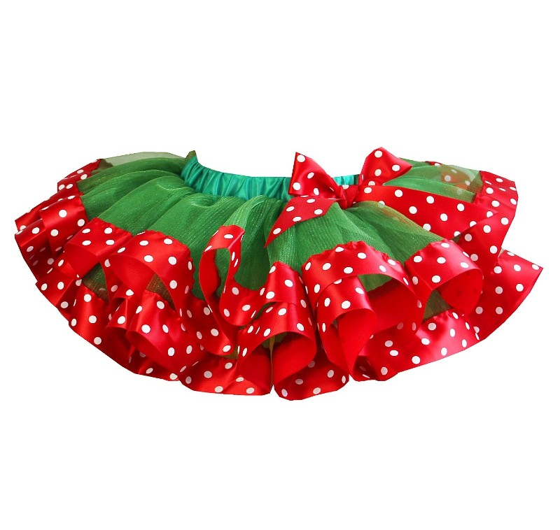 Red & Green Satin Trimmed Polka Dot Tutu-red, green, polka dots, tutu, skirt, christmas, holiday