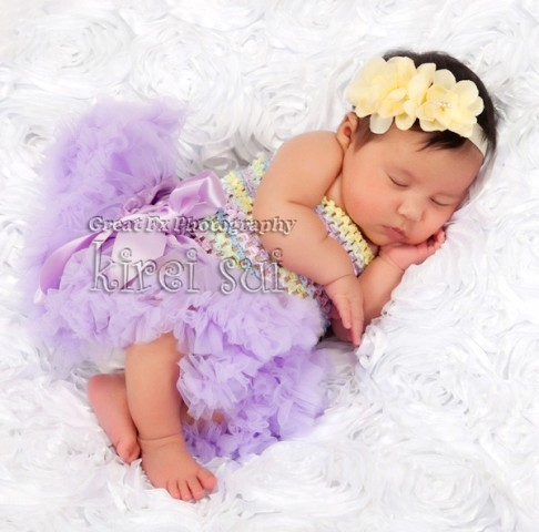 Newborn Lavender Pettiskirt & Pastel Tube Top Outfit Set-easter, spring, pastel, lavender, yellow,