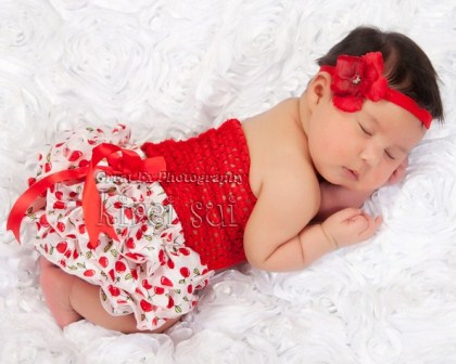 Sweet Cherry Satin Bloomers & Red Tube Top Outfit Set-infant, baby, girl, boutique, red, cherry, cherries, summer, picnic, red, white