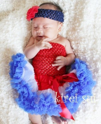 Newborn  Red White Blue Pettiskirt with Red Tube Top Outfit Set