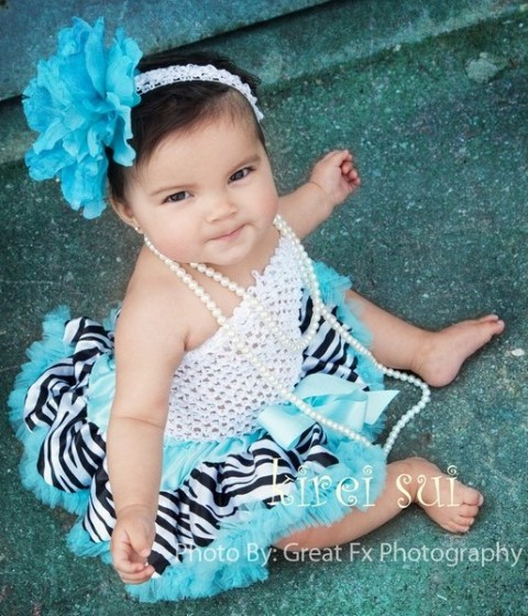 Newborn Zebra Blue Pettiskirt with White Tube Top Outfit Set-blue, aqua, newborn, animal print, zebra