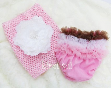 Pink & Brown Tutu Bloomers with Matching Peony Tube Top Gift Set
