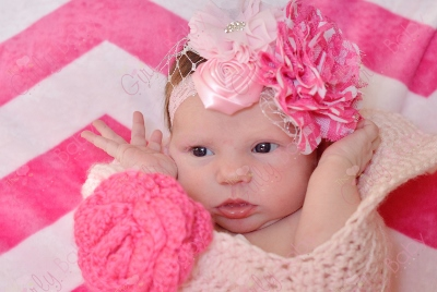Shades of Pink Chevron Flower Couture Infant Lace Headband-hot pink, light, pink, lace, chevron, newborn, infant, baby, girl, flower, couture, headband, netting
