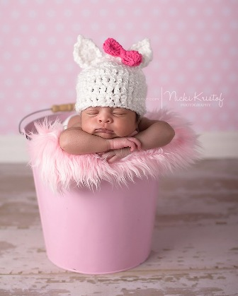 White Newborn Cat with Pink Bow Knit Hat-newborn, crochet, infant, baby, girl, hat, kitty, cat, white