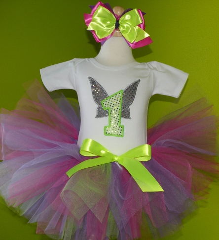Tinkerbell Fairy Wings Birthday Tutu Outfit Set-white, lime, fairy, pixie hollow, outfit, 1st birthday, infant, baby girl, disney, pink, purple, tinkerbell, wings, sparkle