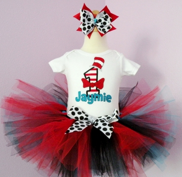 Top Hat First Birthday Tutu Set-Red, Black & Blue, birthday party, 1st birthday, infant, baby girl, tutu set, outfit, cat in the hat