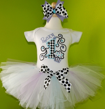 Polka Dot Swirl Birthday Cupcake Tutu Set