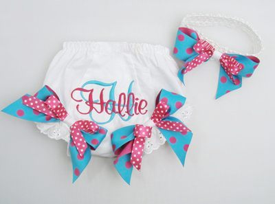 Turquoise & Hot Pink Polka Dot Bloomer & Headband Set