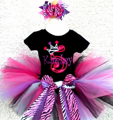 Ultimate Zebra Pink Purple Girls Birthday Tutu Outfit-black, purple, zebra, hot pink, birthday, party, tutu, outfit, set, infant, baby, girl