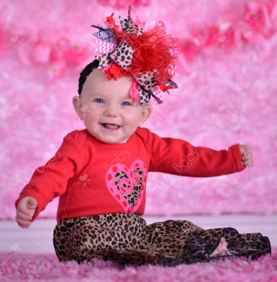 Red & Pink Leopard Heart Valentine Shirt-pink, red, black, heart, love, leopard, print, valentine, valentines, valentine's, day, outfit, set
