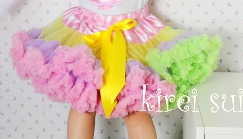 Springtime Pastel Rainbow Ruffle Pettiskirt-green, pink, lavender, yellow, pastel, colorful, spring, easter, petti skirt