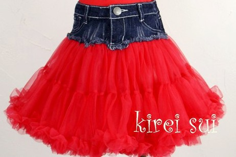 Girls Lively Denim Red Pettiskirt