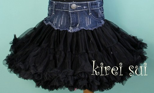 Girls Lively Denim Black Pettiskirt