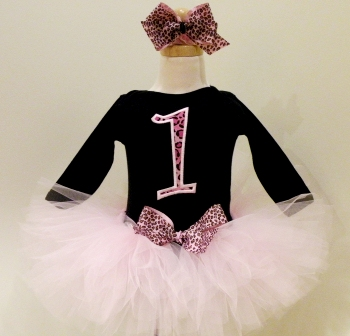 Wild at One Pink Cheetah Birthday Tutu Outfit-leopard, hot pink, pink, black, animal print, infant, baby girl, birthday, party, tutu set, outfit