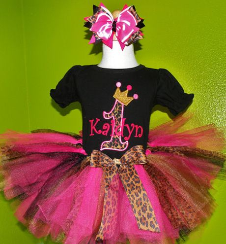 Wild Leopard Hot Pink Tiara Crown Birthday Tutu Outfit Set