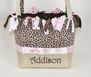 Leopard Luxe Personalized Baby Boutique Diaper Bag-diaper bag, custom diaper bag, tote, leopard, cheetah, animal print, tan, light pink, brown, ribbons, boutique