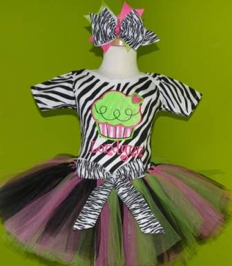 Zebra Cupcake Birthday Tutu Outfit-pink, green, zebra, birthday party, tutu set, outfit, baby girl