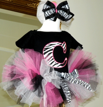 Pink Zebra Baby Initial Birthday Tutu Outfit-black, pink, zebra, birthday party, 1st birthday