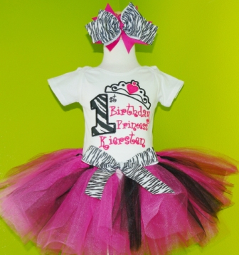 Zebra Birthday Princess Tutu Outfit Set-birthday party, infant, baby girl, hot pink, zebra print, boutique