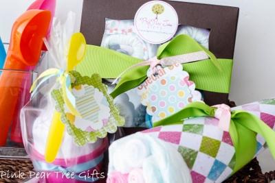 Grand Triple Delight Baby Girl Shower Gift Set-newborn, infant, baby, girl, boutique, shower, gift, set, onesies, wash cloths, diapers, socks, receiving blanket, spoon