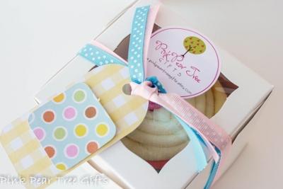 Banana Split Hooded Towel Cupcake Shower Gift-infant, baby, girl, shower, gift, towel, rag, washcloth