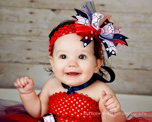 Grand Slam Glam Baseball Hair Bow Headband-baseball, infant, baby girl, boutique, hairbow, sports, red, white, blue, american