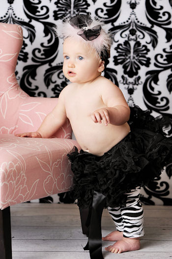 Divalicious Black & Pink Baby Feathers Headband-infant, baby girl, headband, hairbow,