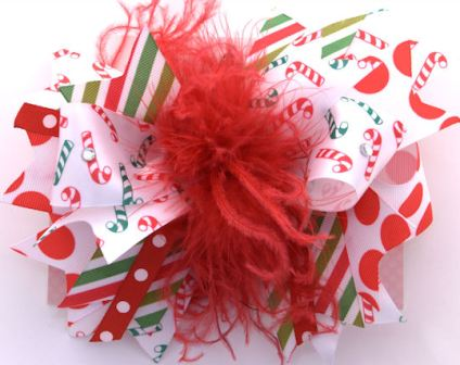 Christmas Candy Cane Over-the-Top Hair Bow Headband-christmas, holiday, red, green, white