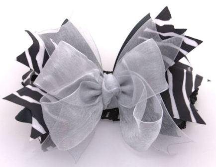 Zebra Sparkle Silver Couture Hair Bow Headband-zebra, silver, infant, baby girl, boutique, hairbow, headband