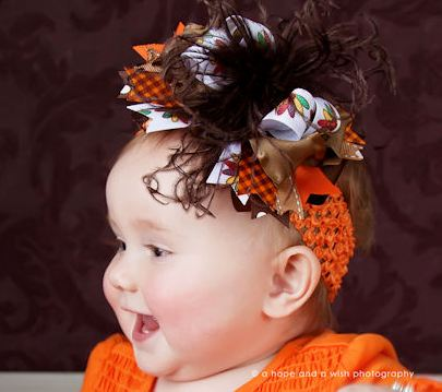 Gobble Turkey - Over-the-Top Hair Bow Headband-thanksgiving, infant, baby girl, boutique, hairbow, fall