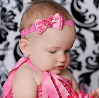 Simple Elegance Satin Roses Hair Bow Headband-hot pink, infant, baby girl, spring, boutique, hairbow