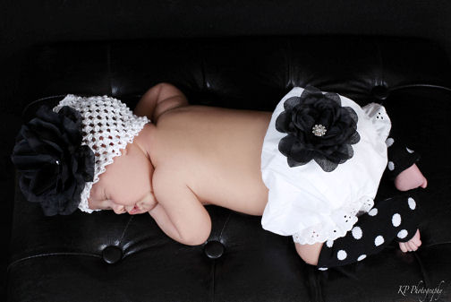 Blushing Blooms Baby Garden Black Couture Rose Diaper Cover