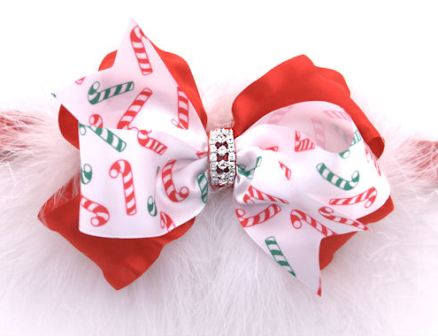 Candy Cane Glamour Marabou Jeweled Hair Bow Headband-red, white, green, christmas, holiday, hairbow, party