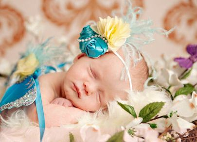 Turquoise Garden Butterfly Baby Newborn Flower Photo Prop Wings