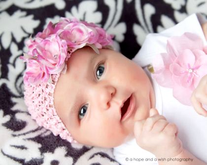 Romantic Rose Bouquet Pink Petals Baby Crochet Headband-pink, flowers, roses, infant, baby, girl boutique headband hairbow