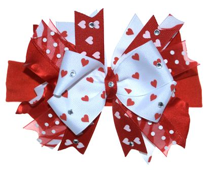 Couture Red & White Wild Valentine Hearts - Over-the-Top Hair Bow Headband-red, white, valentine, valentine's day, love, heart, hairbow
