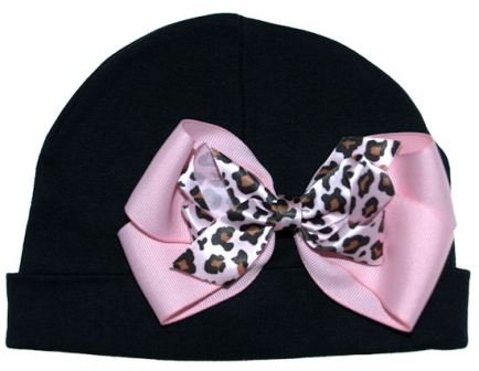 Girly Diva Cheetah Print Pink & Black Baby Cotton Hat-black, animal print, leopard, infant, baby girl boutique hat