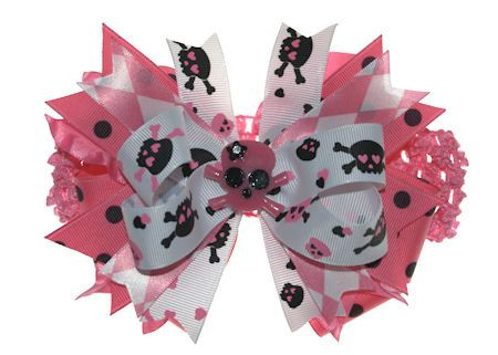Posh & Punky Baby Girl Over-the-top Pink Skull Hair Bow Headband