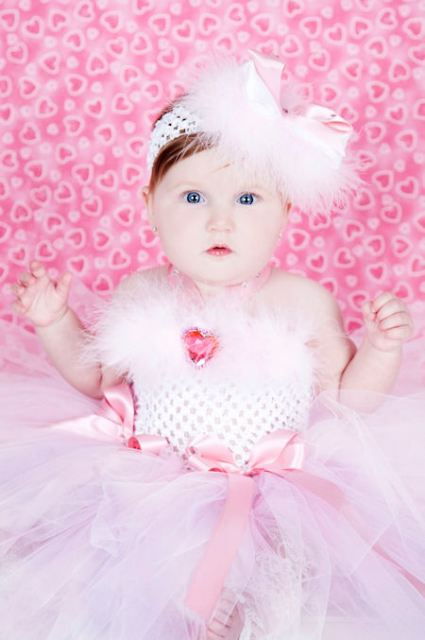 Sweetest Pink Diamond Heart Fancy Crochet Tutu Dress
