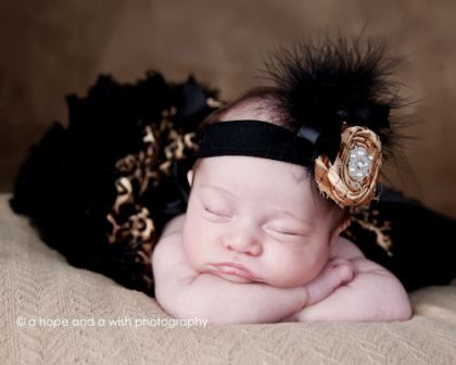 Ritzy Vintage Gold Rosette & Pearl Baby Headband-black, golg, infant, baby girl headband, hear flower