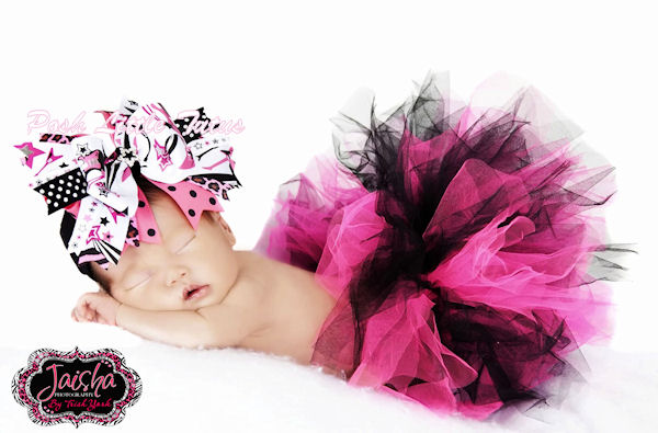 Little Rock Star Ribbons Big Over-The-Top Hair Bow Headband-hot pink, black, rock star, punk, infant, baby girl, boutique, hairbow, headband