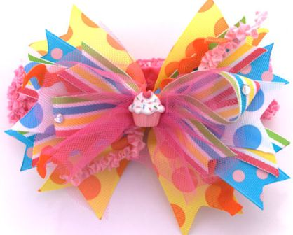 Birthday Surprise - Lg. 5in Hair Bow Headband-colorful, boutique hairbow, infant, baby, girl, birthday party, headband, cupcake