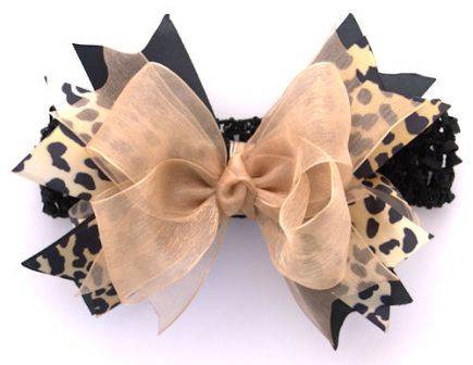 Cheetah Sparkle Gold Couture Hair Bow Headband-gold, leopard, cheetah, animal print, infant, baby girl, boutique, hairbow, black