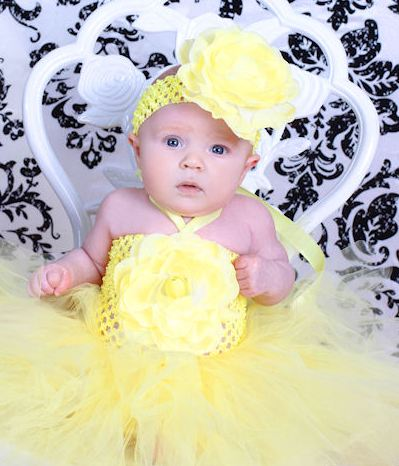 Sunshine Blooms Premium Rose Yellow Baby Crochet Tutu Dress