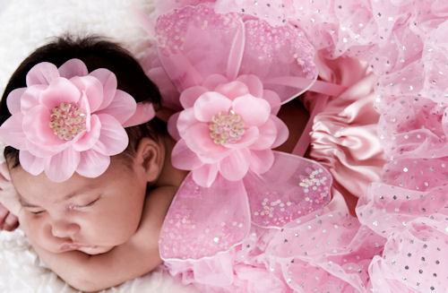 Pink Sparkle Infant Portrait Fairy Wing Headband Set