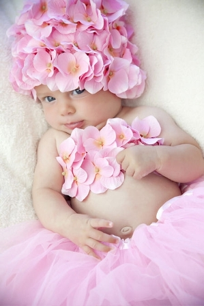 Precious Pink Blossom Hydrangea Flower Hat & Top
