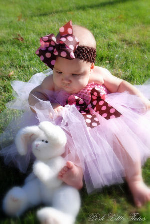 Chocolate Truffle Pink Baby Tutu Halter Dress