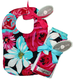 Baby Girls Drama Queen Bib & Burp Cloth Gift Set-hot pink, red, turquoise, blue, floral, baby, bib, burp cloth, burpie, baby girl, infant, gift, set